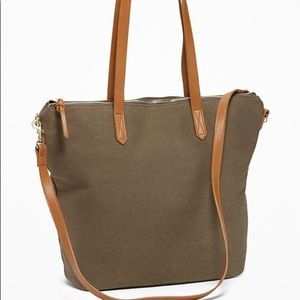 Canvas Tote Bag- Olive Green & Brown BNWT